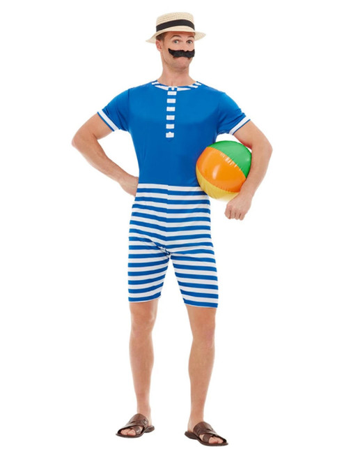 "40"" Blue and White 1920's Style Bathing Suit Men Adult Halloween Costume - XL - IMAGE 1"