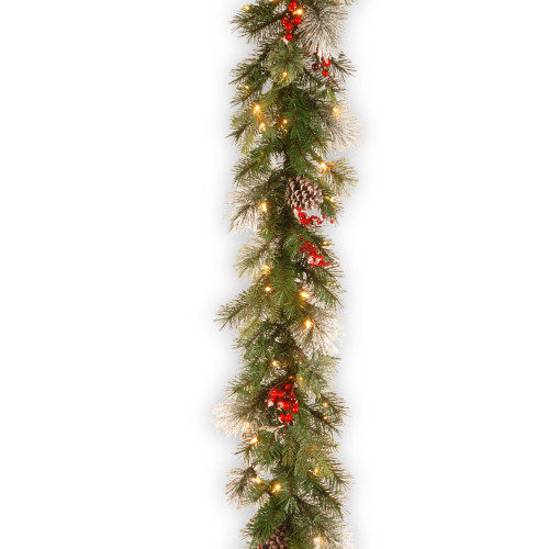 """9' x 12"""" Pre-Lit Wintry Berry Artificial Christmas Garland - Clear Lights - IMAGE 1"""