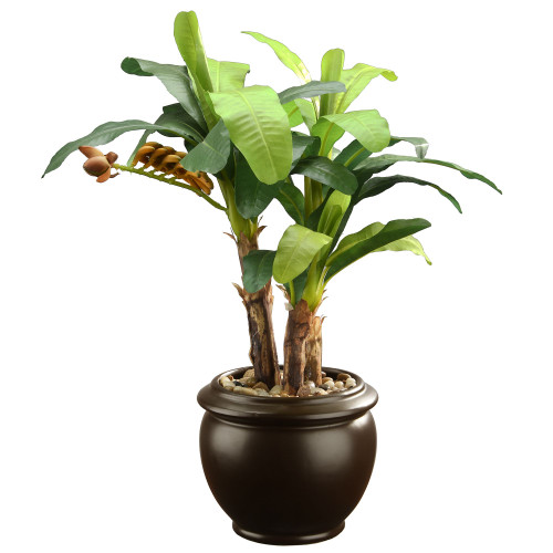 """18.5"""" Green and Black Potted Artificial Banana Plant - IMAGE 1"""