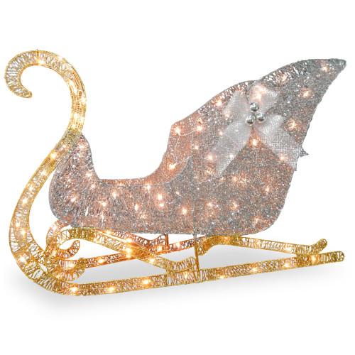 """48"""" Pre-Lit Santa Sleigh Christmas Decoration - LED Lights - IMAGE 1"""