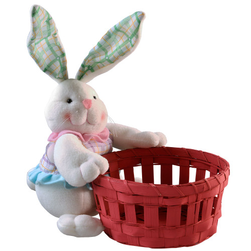 """11"""" Red and White Easter Bunny with Basket Tabletop Decor - IMAGE 1"""