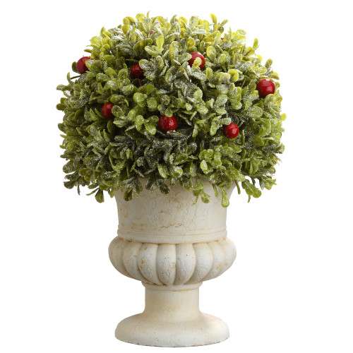 "11"" Green and Red Boxwood Ball Artificial Topiary - Unlit - IMAGE 1"