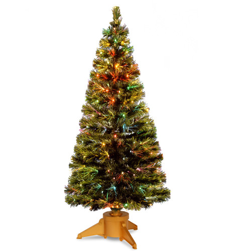 6' Pre-Lit Slim Fiber-Optic Artificial Christmas Tree - Multicolor LED Lights - IMAGE 1