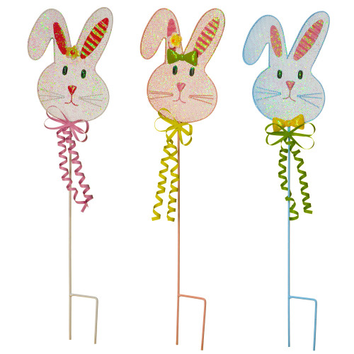 """Set of 3 Pink and Blue Easter Bunny Handcrafted Garden Stakes 24"""" - IMAGE 1"""