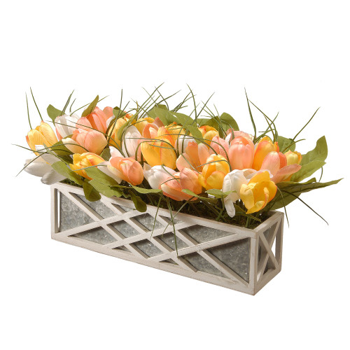"20"" Yellow and White Planter with Artificial Tulip Flowers - IMAGE 1"