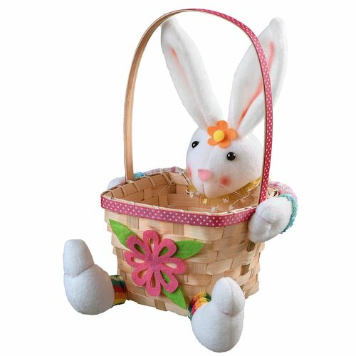 """9.5"""" Pink and White Easter Bunny with Basket Tabletop Decor - IMAGE 1"""