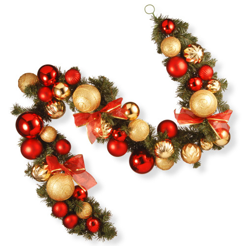 6' Red Pine and Ball Ornament Artificial Christmas Garland - Unlit - IMAGE 1