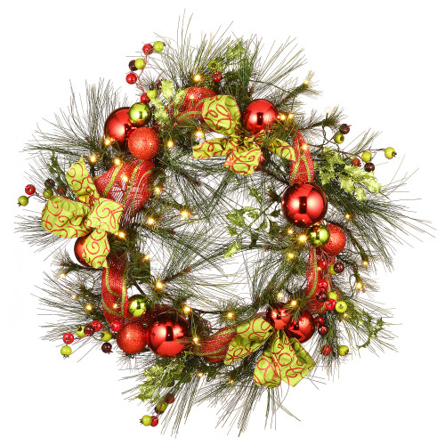 """30"""" Pre-Lit LED Ornament Battery Operated Artificial Christmas Wreath - White Lights - IMAGE 1"""