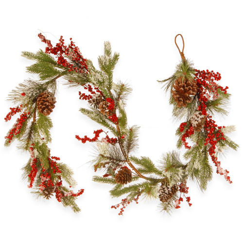 6' Green and Red Pine Cone Artificial Christmas Garland - Unlit - IMAGE 1