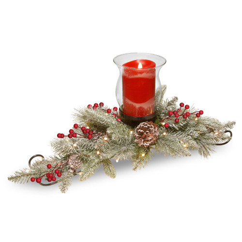 "30"" Green Snowy Bristle Christmas Candle Holder and Centerpiece - IMAGE 1"