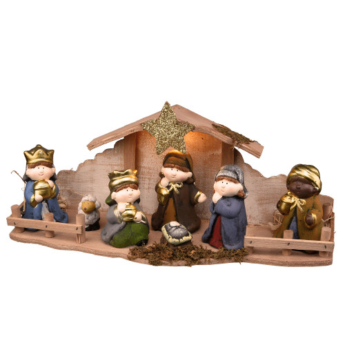 """18"""" Brown and Beige Battery Operated LED Nativity Set Christmas Tabletop Decor - IMAGE 1"""