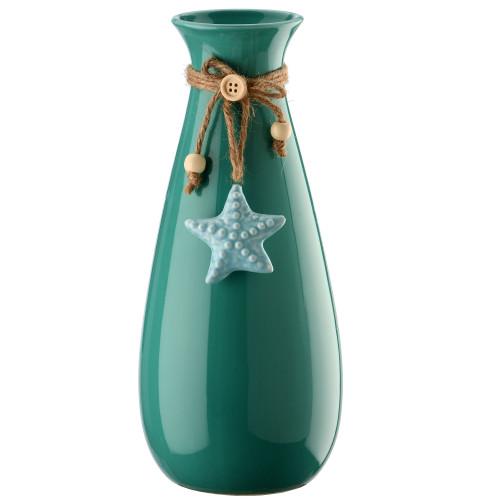 """10.25"""" Aqua Green and Blue Starfish Bottle Vase - IMAGE 1"""