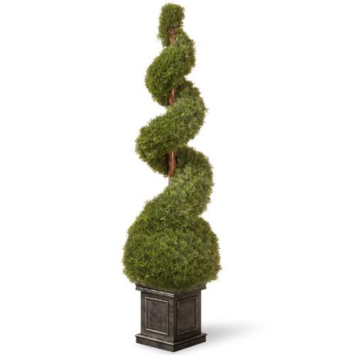"48"" Green Artificial Cedar Spiral Topiary - Unlit - IMAGE 1"