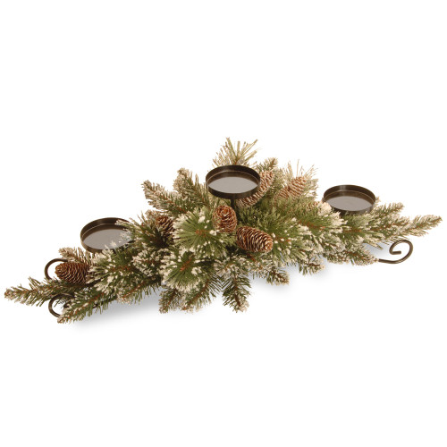 """29"""" Green and Brown Glittered Pine Christmas Centerpiece and Candle Holder - IMAGE 1"""