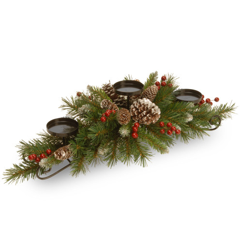 "30"" Green and Brown Frosted Berry Christmas Centerpiece and Candle Holder - IMAGE 1"