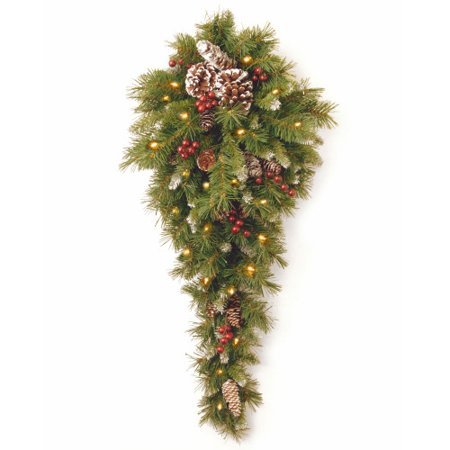 "36"" Pre-Lit Frosted Berry Artificial Christmas Teardrop Swag - LED Lights - IMAGE 1"