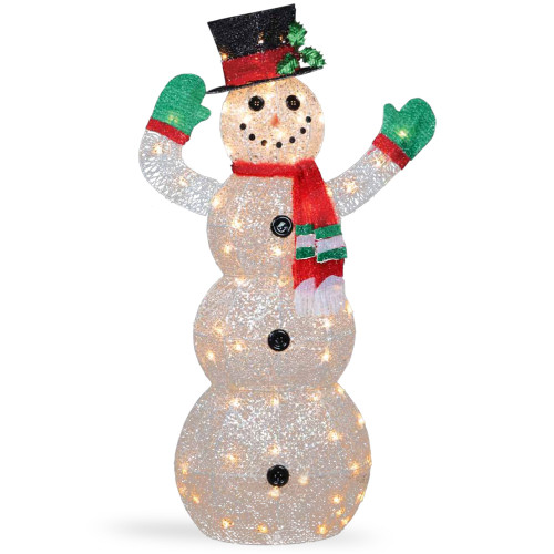 """48"""" White and Green Pre-Lit LED Snowman Outdoor Christmas Decor - IMAGE 1"""