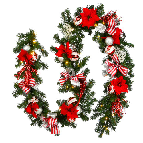 9' Pre-Lit Battery Operated Artificial Christmas Garland - Warm White LED Lights - IMAGE 1