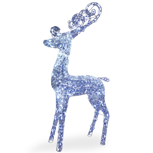 "60"" Pre-Lit Standing Reindeer Christmas Decor with White LED Lights - IMAGE 1"