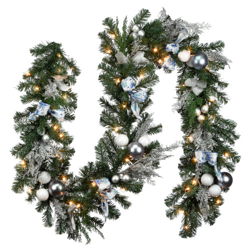 """9' x 14"""" Pre-Lit Ornament Embellished Artificial Christmas Garland - Clear Lights - IMAGE 1"""