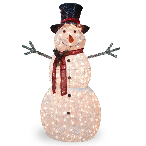 """60"""" White and Red Pre-Lit LED Snowman Outdoor Christmas Decoration - IMAGE 1"""