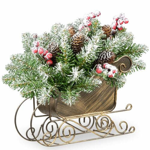 "10"" Gold and Green Fir Sleigh Unlit Tabletop Christmas Decor - IMAGE 1"