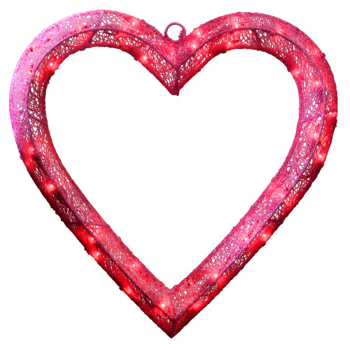 "15"" Pink Pre-Lit Contemporary Heart Hanging Decor - Red LED Lights - IMAGE 1"