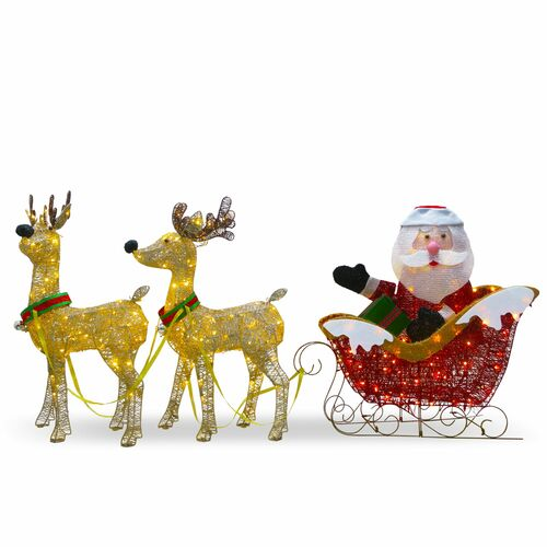 """34"""" Red Santa Claus and Reindeer Christmas Decor with Clear Lights - IMAGE 1"""