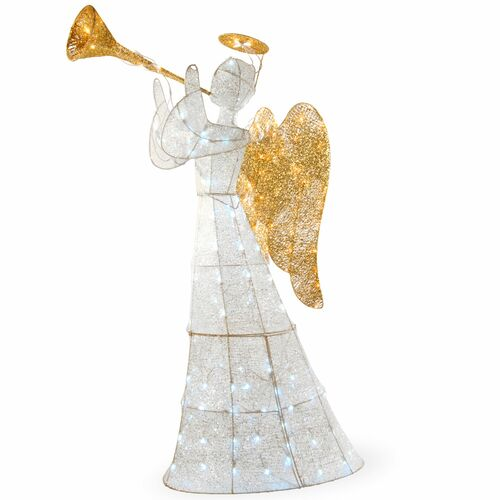 "60"" White and Gold Trumpeting Angel Decor with LED Lights - IMAGE 1"