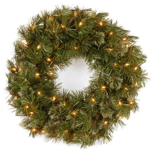 Pre-Lit Wispy Willow Artificial Christmas Wreath - 24-Inch, Clear Lights - IMAGE 1