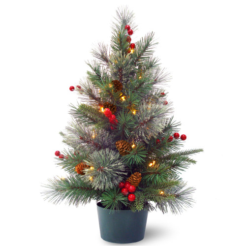 2' Pre-lit Colonial Potted Mixed Pine Medium Artificial Christmas Tree - Warm White LED Lights - IMAGE 1