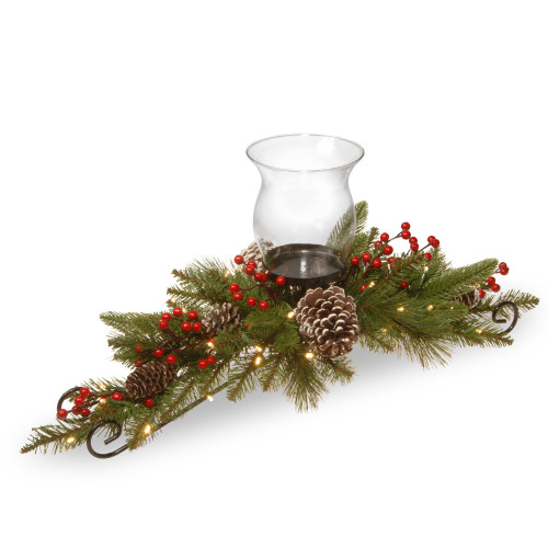 """30"""" Green Battery Operated LED Lighted Christmas Candle Holder and Centerpiece - IMAGE 1"""