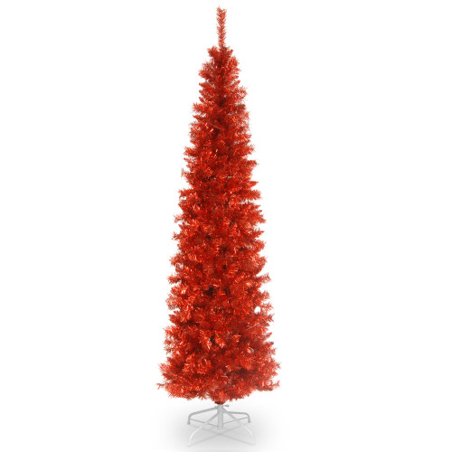 6' Red Pencil Tinsel Artificial Christmas Tree - Unlit Lights - IMAGE 1
