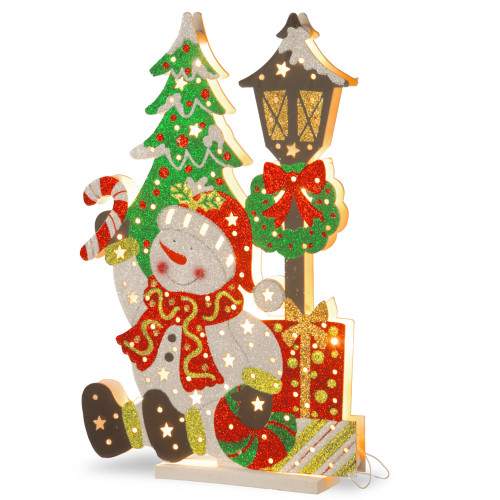 """17.5"""" Pre-Lit White Snowman Outdoor Christmas Decor with Warm White LED Lights - IMAGE 1"""