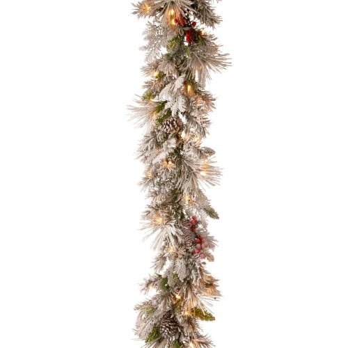 """9' x 12"""" Pre-Lit Snowy Bedford Battery Operated Pine Artificial Christmas Garland - Warm White LED Lights - IMAGE 1"""