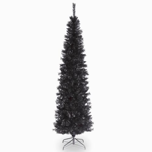 6' Pencil Black Tinsel Artificial Christmas Tree - Unlit - IMAGE 1