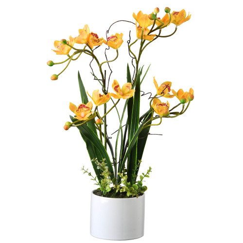 """18"""" Yellow and White Potted Artificial Plant with Orchid Flowers - IMAGE 1"""
