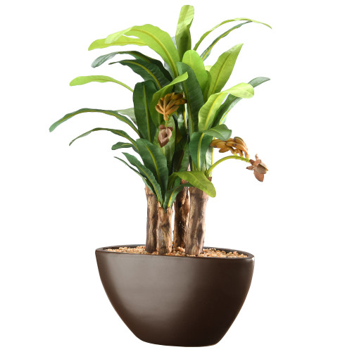 """16"""" Green and Black Potted Artificial Banana Plant - IMAGE 1"""