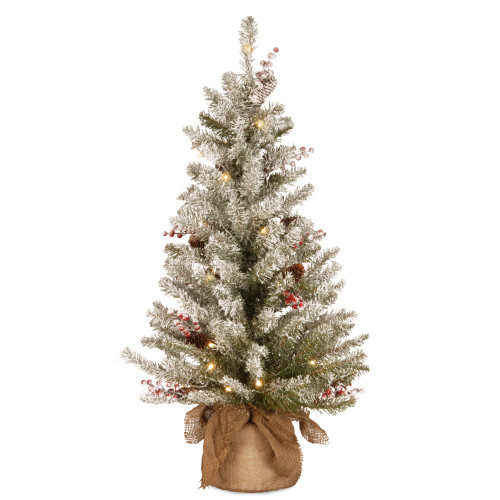 3' Pre-Lit Dunhill Fir Artificial Christmas Tree - Warm White LED Lights - IMAGE 1