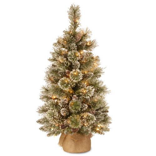 3' Full Pre-Lit Bristle Pine Artificial Christmas Tree - Warm White LED Lights - IMAGE 1