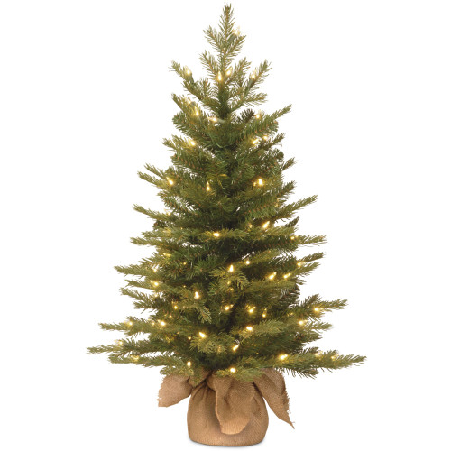 3' Pre-Lit Potted Nordic Spruce Medium Artificial Christmas Tree - Clear Lights - IMAGE 1