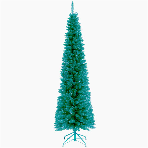 6' Turquoise Tinsel Artificial Christmas Tree - Unlit Lights - IMAGE 1