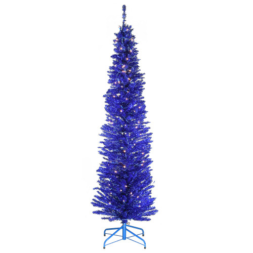 6' Pre-Lit Pencil Blue Tinsel Artificial Christmas Tree - Clear Lights - IMAGE 1