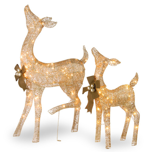 """Set of 2 Champagne Gold Fawn with Doe Christmas Decor with LED Lights 38"""" - IMAGE 1"""