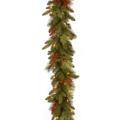 """9' x 12"""" Pre-Lit Cedar Leaves and Berries Artificial Christmas Garland - Clear Lights - IMAGE 1"""