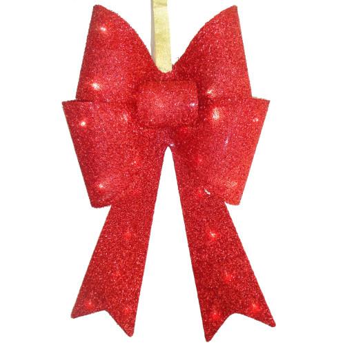 "19.5"" Red Pre-Lit Shimmering Christmas Decoration Bow - LED Lights - IMAGE 1"