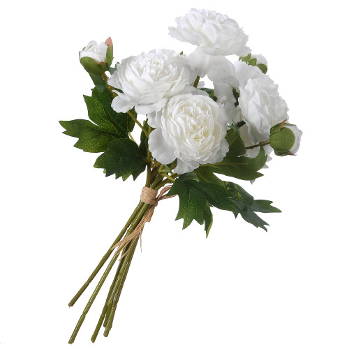 """12.25"""" Green and White Artificial Peonies Flower Bouquet - IMAGE 1"""