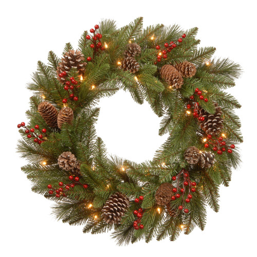 """30"""" Pre-Lit Bristle Berry Battery Operated Artificial Christmas Wreath - Warm White LED Lights - IMAGE 1"""