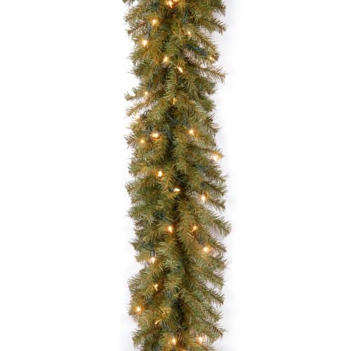 "9' x 10"" Pre-Lit Norwood Fir Artificial Christmas Garland - Clear Lights - IMAGE 1"
