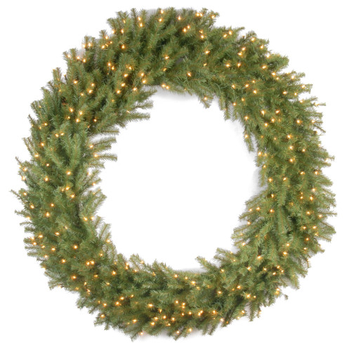 Pre-Lit Norwood Fir Deluxe Artificial Christmas Wreath - 60-Inch, Clear Lights - IMAGE 1